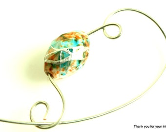 Turquoise and Orange Beaded Shawl Pin, Jewelry Brooch, Scarf Pin, Brooch - Turquoise and Orange Speckled Bead