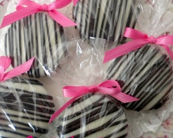 Pink Zebra Chocolate Covered Oreos Cookies Glam Party Favors Sweet 16 Baby Shower Wedding Favors Bridal Shower Hot Pink and Black Favors