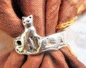 RESERVED for Reiko - Vintage sterling cat ring, 1960s - please do not buy unless you're Reiko