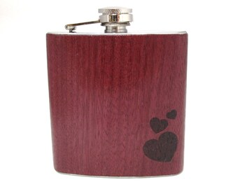 6oz Purple Heart Wood Flask with engraved Hearts Limited Edition for Valentines Day