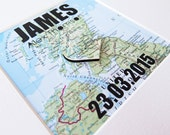 Customized Map Baptism or New Baby Gift