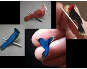 Tiny bird lapel pin - woodpecker, cardinal, blue jay or humming bird