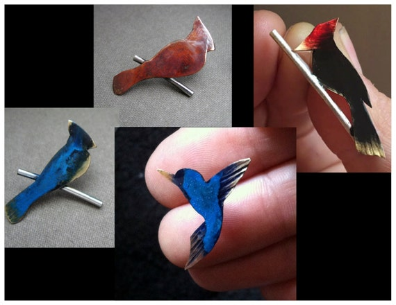 Tiny bird lapel pin - woodpecker, cardinal, blue jay or humming bird