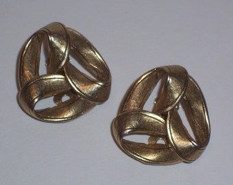 Vintage Brushed Gold tone Earrings  - Clip Ons