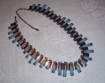 Vintage Copper and Blue Enamel Speckled Necklace
