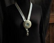 Art neckpiece, recycled and hand dyed zip, origianl neck piece, pale blue, handmade, Australian