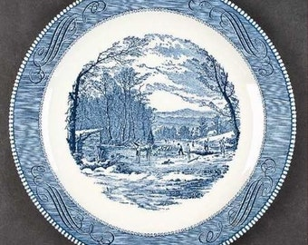 "11 1/2"" CURRIER & IVES Round Platter~""Getting Ice"" ROYAL China"