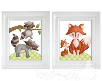 Set of 2 Kids 8 x 10 ART PRINTS Forest Woodland Critters Forest Tales Friends Kids Bedroom Baby Nursery Kids Wall Art Frames NOT Included