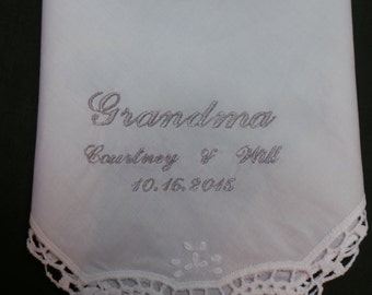 Grandmother Handkerchief Wedding Grandma Hankie Personalized with names and date Embroidered