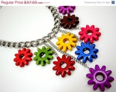 CYBER SALE Bright And Colorful Dangling Flowers Necklace by Debbie Renee, Stone Flowers