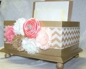 CARD BOX, Wedding Card Box,  Coral and Gold Wedding, Gold Chevron, Gold Box, Shabby Chic Flowers, Custom colors available