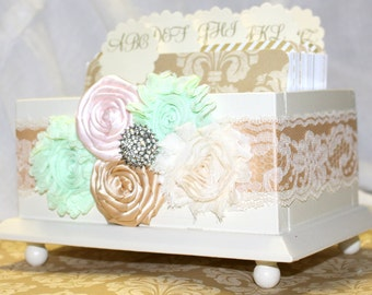 GUEST Book Box, Advice Box, Gold and Mint, blush and gold guest book, Ivory Gloss Box, Dividers, Custom Colors