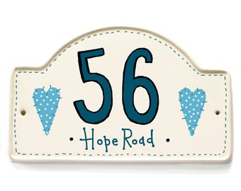 hand painted shabby chic house plaque, house number, house name plaque on ceramic, folk art design