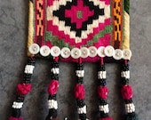 Vintage Uzbek Yurt Tribal Wall Hanging Pendant Decoration   Silk Double Tassels   Beaded Buttons   Ethnic Textile Arts Folk Art