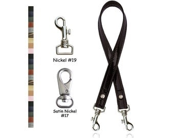 "ON SALE! Genuine Leather Handbag Strap - 3/4"" (.75-inch) Wide - Choose Leather Color, Length & Nickel or Satin Nickel Hooks"