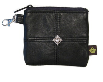 Mini Leather Wallet - Upcycled Soft Black Leather - JESSIE