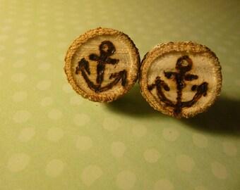 Wood Burned Anchor Earrings
