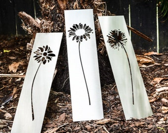 Flowers Triptych stainless steel outdoor art