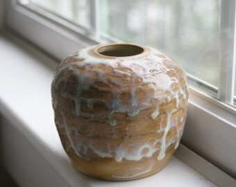 Rustic Ceramic Vase in White Dripping Glaze Handmade Stoneware Pottery Ready to Ship Made in USA