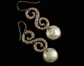 Rustic Glass & Copper Earrings, Unique Boho Spiral Dangle Earrings, Copper Boho Jewelry for Her, Niobium Earrings, Handmade Gift for Women