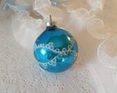 vintage glass ornament, Christmas ornament, made in USA, cobalt blue, Christmas tree decor