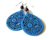Blue Floral Wood and Purple Magnesite Stone Earrings