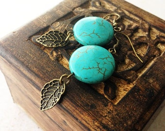Turquoise Coin and Brass Leaf Earrings , boho , bohemian