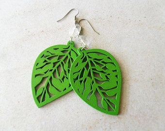 Green Leaves and Glass Dangle Earrings - nature hippie, woodland