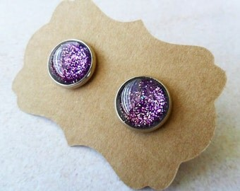 Purple Glitter Stud Post Earrings . Shiny Earrings . Bling . Shimmer Glass Earrings