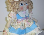 Primitive Raggedy Ann Doll Larissa Floral and Butterflies Calico Heart Ornie