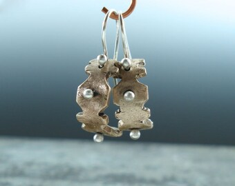 Carved Bronze Metal Clay Curves and Balled Silver Earrings