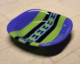 Fused Glass Bowl in Dark Blue Violet and Avacado Green with Pattern Bar