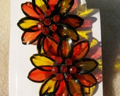 Vintage Floral Earrings - Daisy Clip On Plastic with Rhinestones from JewelryArtistry - E482