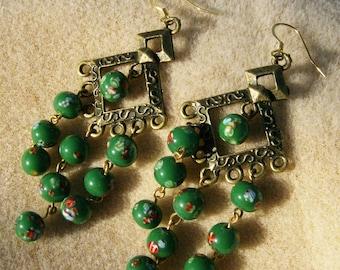 Vintage Bead Earrings - Grass Green Chandelier Handmade by JewelryArtistry - E483