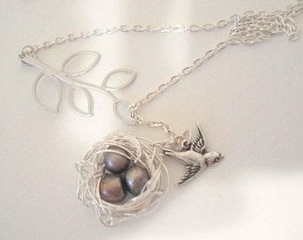 Nest Necklace Bird Nest Necklace Bird Lariat Silver Nest Mom Child Necklace Bird Jewelry Birdnest Jewelry