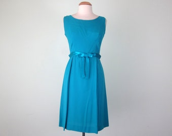 60s turquoise jewel tone silk chiffon cocktail party holiday sleeveless dress (m - l)