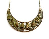 Green Grapevine Necklace, Rustic Patina, Verdigris, Leaf, Woodland Jewelry, Vine, Necklace