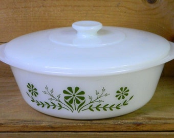 Vintage Casserole Bowl Glasbake Ovenware with Lid Milk Glass Green Daisy Flower Floral, CrabbyCats, Crabby Cats
