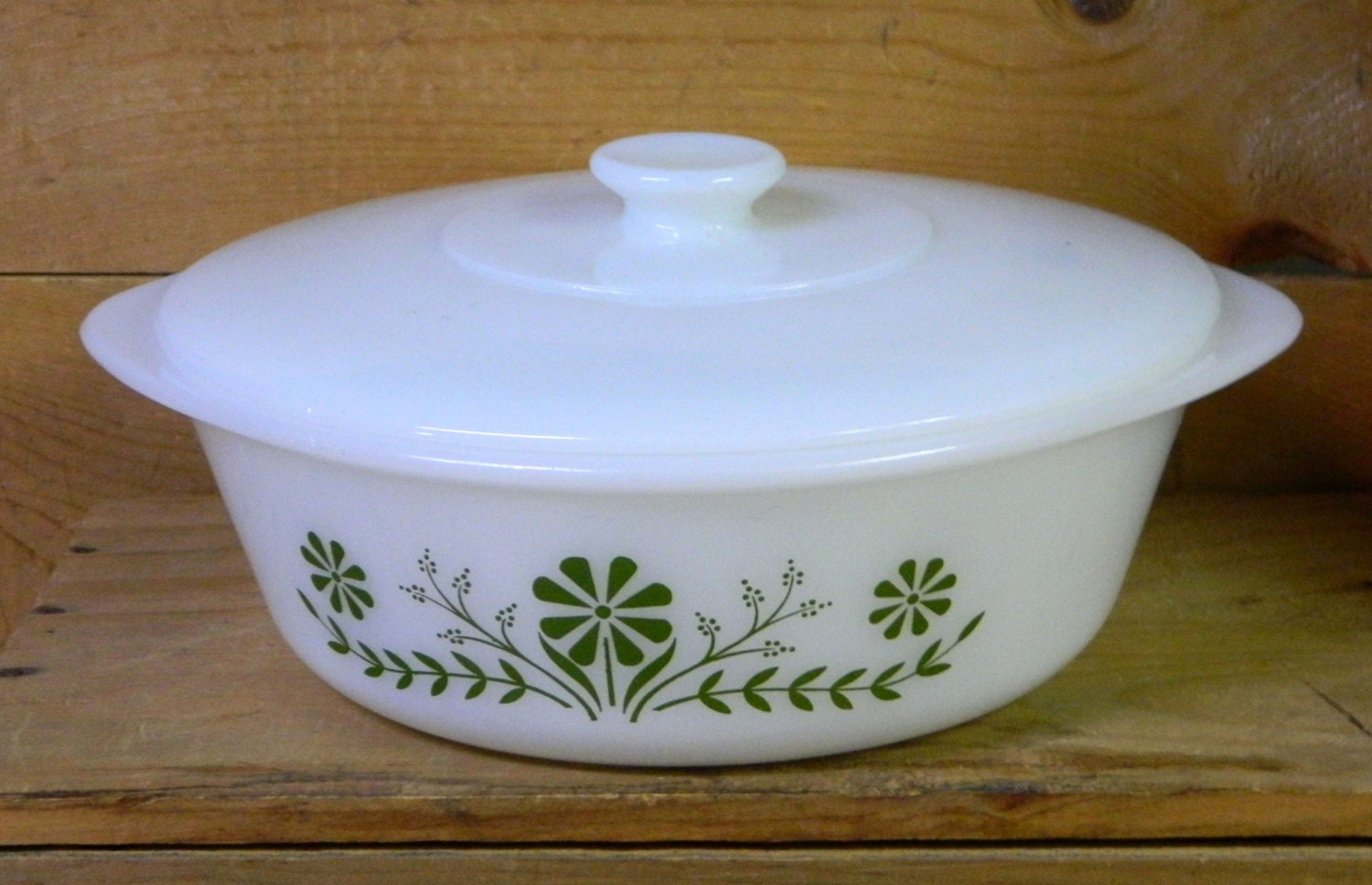 Vintage Glasbake Ovenware Casserole Bowl With Lid Milk Glass
