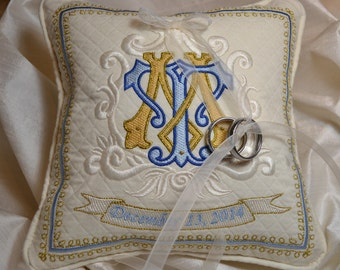 wedding ring pillow embroidery monogram bridal something blue padrino de cojines madrina quilted wedding shower