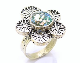 Flower shaped silver sterling ring with roman glass