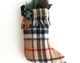 Vintage Wool Thomson Tartan Stocking with Suede Trim - Monogram