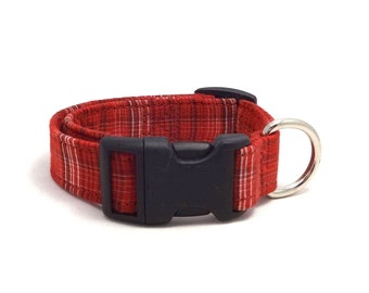 Red, dark red and white checkered / hairlined striped adjustable XS / S / puppy dog collar