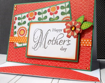Mother's Day Card with Matching Embellished Envelope - Sunset Blossom