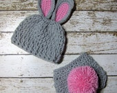 Grey Newborn Baby Bunny Hat and Diaper Cover Photo Prop, 0 to 3 Month Easter Bunny Hat and Diaper Cover