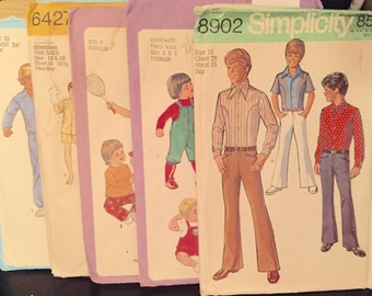 5 Total Boys Vintage Sewing Patterns 1970 thru 1978
