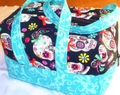 Blue Black Sugar Skulls Floral Ribbons Bows - Lunch Bag, Makeup, Multi-Use Bag, Purse