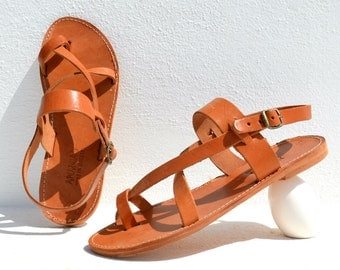 Handmade Roman Grecian leather sandals for men - NEW with all leather sole