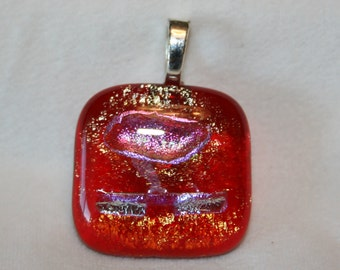 Fused Dichroic Glass Pendant/Necklace-Pretty Red, Pink and Silver Mix #0067