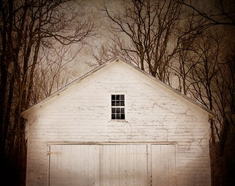 Abandoned Barn Photography, Rural Decay, White Barn, Cream White, Moody, Mysterious, Dark Photography, Haunting, Country, Cottage, Farmhouse